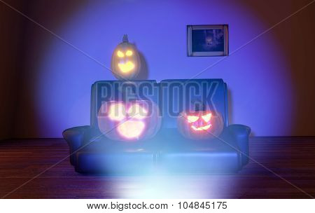 Horrified Pumpkins Watching Tv At Night