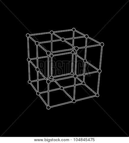 Wireframe mesh polygonal Cube