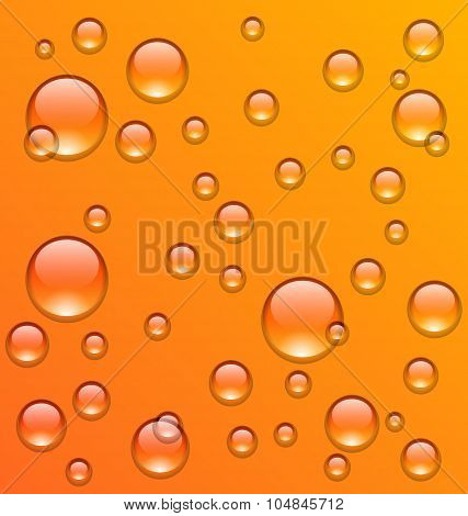 Clean water droplets on orange surface