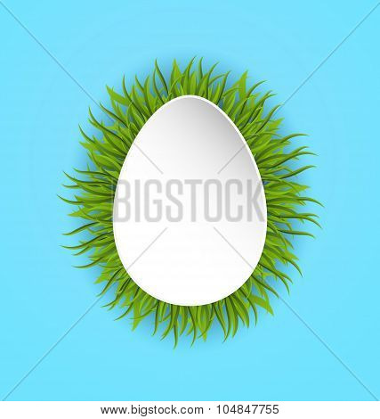 Happy Easter paper card in form egg with green grass, copy space