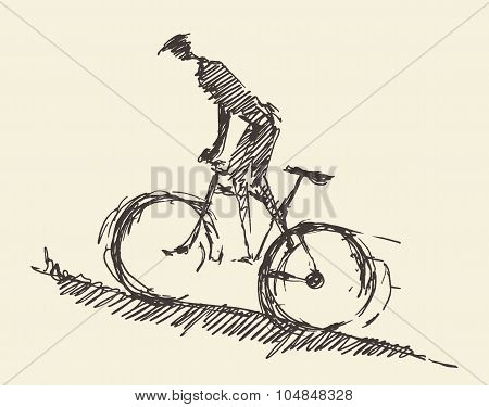 Bicyclist rider man bike vector hand drawn sketch
