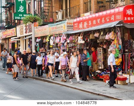 NEW YORK,USA - AUGUST 15,2015 : Colorful street scene at Chinatown in New York City