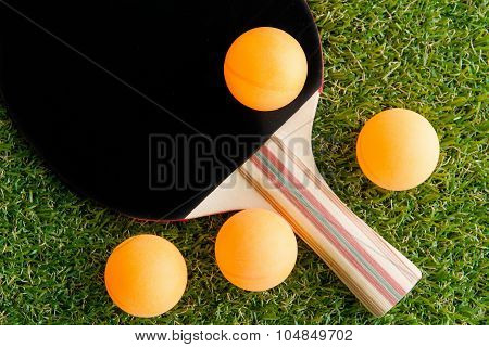 Table tennis racket and ball on grass.