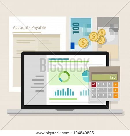 account payable accounting software money calculator application laptop