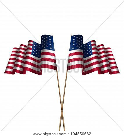Two Flags USA Waving Wind