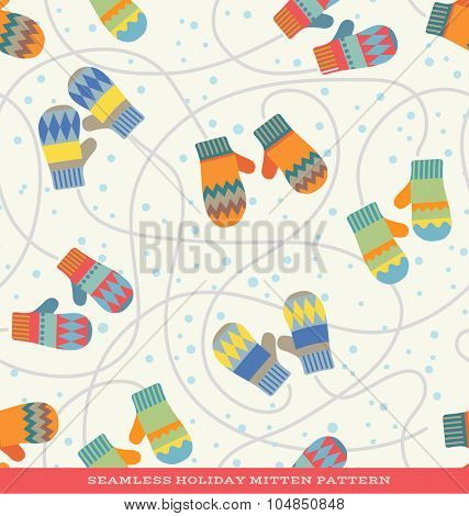 Seamless vector holiday pattern with pairs of mittens and snow
