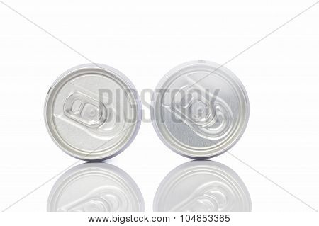 Two Juice Can With Pull Tab Ring On White Background