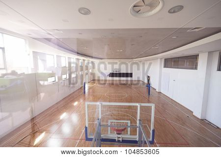 top view of modern shool gym indoor