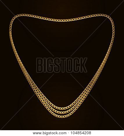Beautiful Golden Chain of Heart Shape