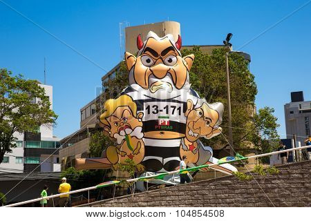 BELO HORIZONTE, BRAZIL - CIRCA OCTOBER 2015: The famous Pixuleco with the image of Lula and Dilma