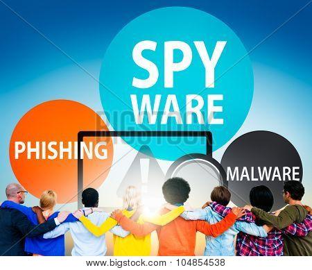 Spyware Hacking Phishing Malware Virus Concept