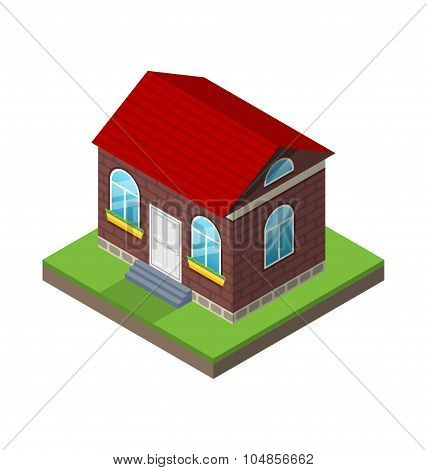 Residential isometric house with grass and ground, isolated on w