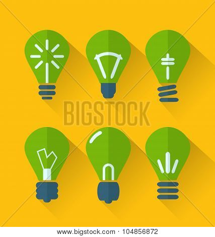 Icon set process of generating ideas to solve problems, birth of