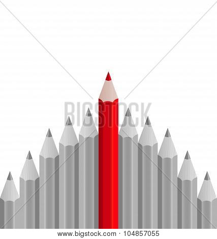 Group of pencils with one highlighted as business concept for le
