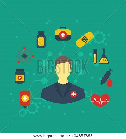 Doctor with medical icons for web design, modern flat style