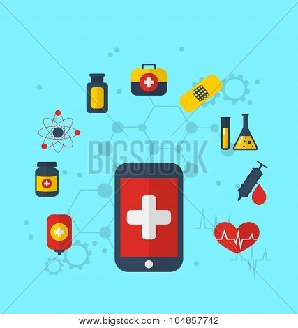 Smart phone with medical icons for web design, modern flat style