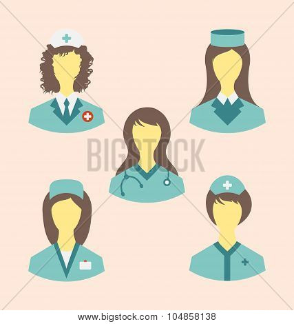 Icons set of medical nurses in modern flat design style