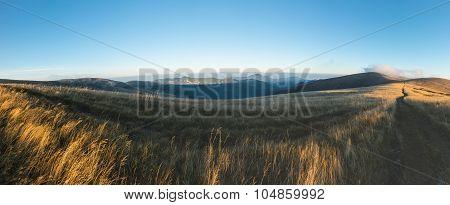 Panorama From Morning Grassy Mountain Ridge