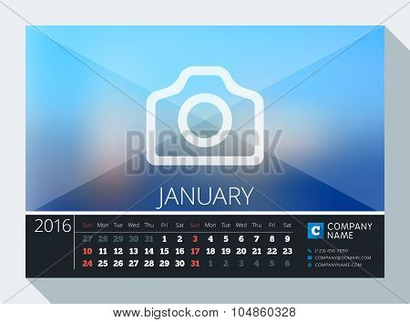 January 2016. Vector Stationery Design. Print Template. Desk Calendar For 2016 Year. Place For Photo