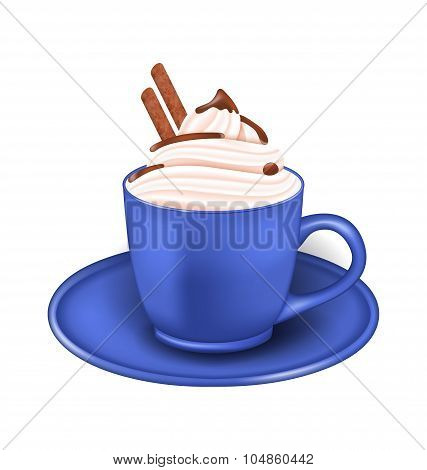 Photo Realistic Cup of Cream and Chocolate Sticks