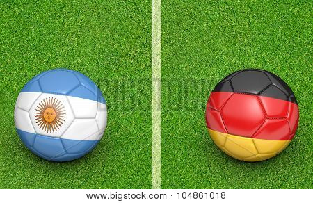 Team balls for Argentina vs Germany soccer tournament match
