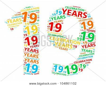 Colorful word cloud for celebrating a 19 year birthday or anniversary