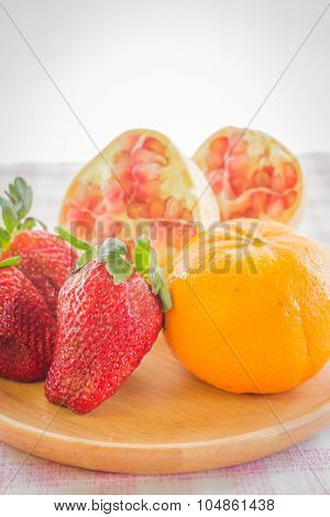 Easy Meal Mix Fruit On Wooden Plate