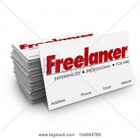 Freelancer independent contractor for hire business card stack or pile