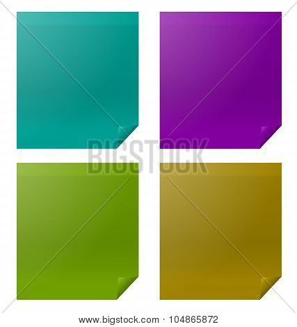 Set Colorful Four Paper Stickers
