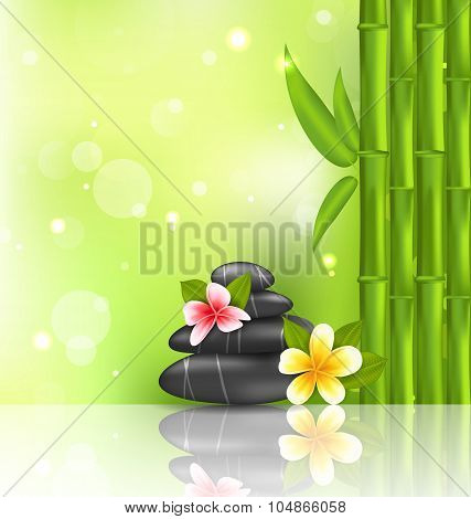 Meditative oriental background with frangipani, bamboo and heap