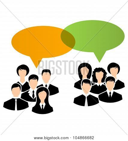 Icons of business groups share your opinions, dialogs speech bub