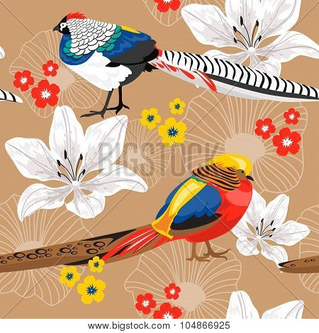 Seamless Background With Flowers And Pheasants