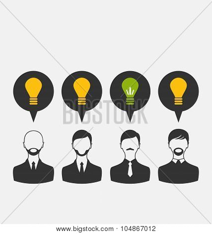 Business people with light bulbs as a concept of new ideas