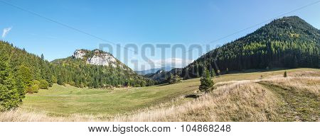 Panorama Of Amazing Mountain Landscape Under Blue Sky