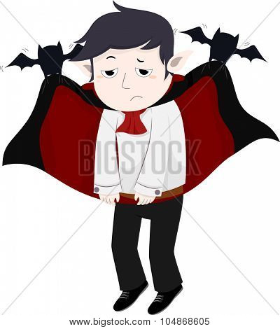 Illustration of a Pair of Bats Lifting a Depressed Vampire