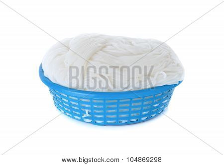 Rice Vermicelli Or Thai Noodle In Plastic Basket On White Background