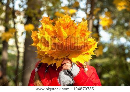 Child With Yellow Leaves