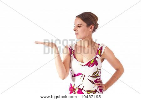 Young woman gesturing with her right hand