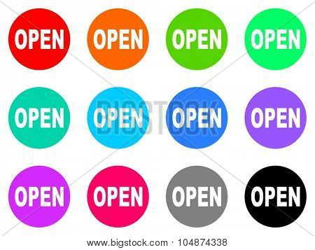 open flat design modern vector circle icons colorful set for web and mobile app isolated on white background