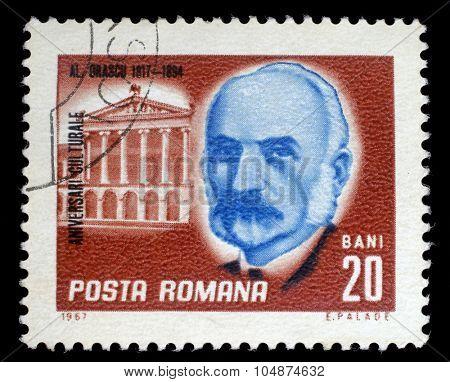 ROMANIA - CIRCA 1967: a stamp printed in Romania shows Alexandru Hristea Orascu (1817 - 1894) Romanian architect, circa 1967.