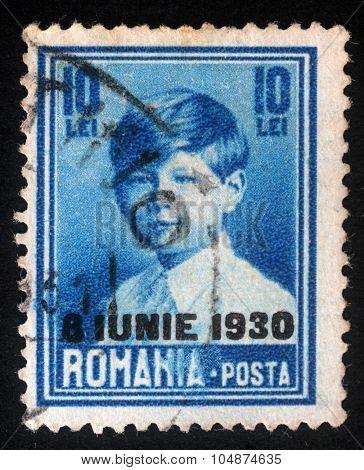 ROMANIA - CIRCA 1930: A stamp printed in Romania shows portrait of King Michael, circa 1930