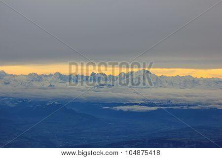 mountain range of the Alps