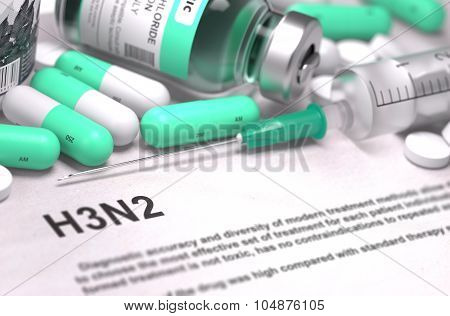 H3N2 Diagnosis. Medical Concept.