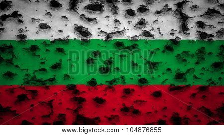 Flag of Bulgaria, Bulgarian flag painted on wall with bullet holes