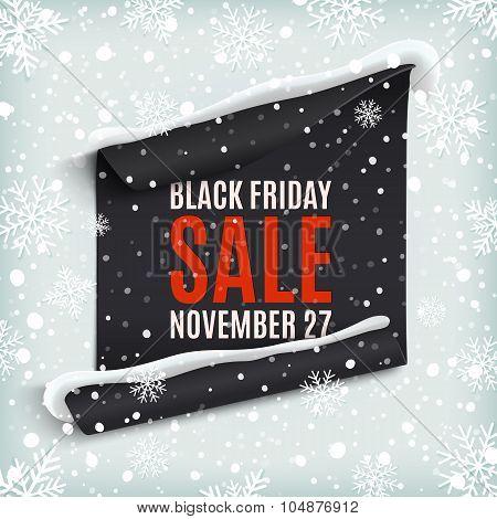 Black Friday sale paper banner.