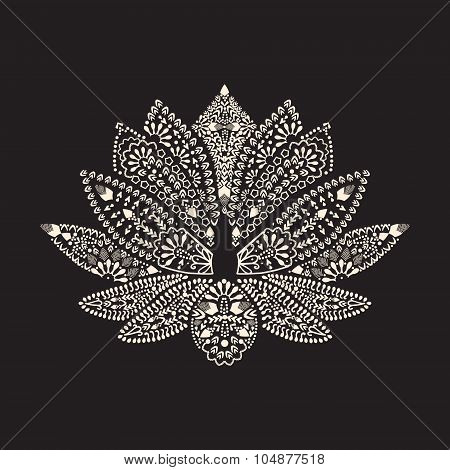 Hand Drawn Tattoo Element Henna Lotus