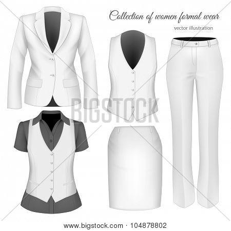 Formal wear for business women. Vector illustration.