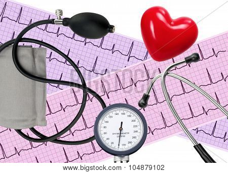 Heart Analysis, Electrocardiogram Graph, Stethoscope, Heart And Blood Pressure Meter