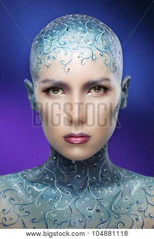 Bald Girl With Colorful Make-up Art.