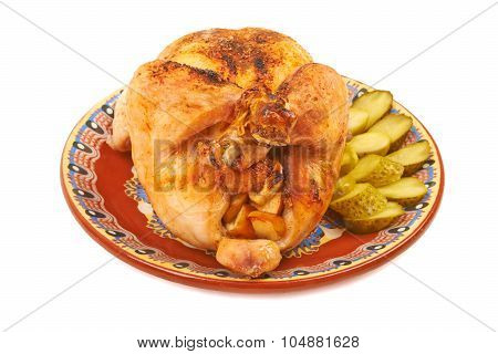 Fried Chicken On A Plate With Pickles
